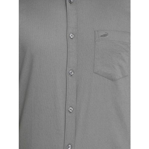 Crocodile Men Grey Slim Fit Solid Casual Shirt