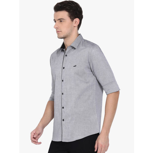 Crocodile Men Grey Slim Fit Self Design Casual Shirt