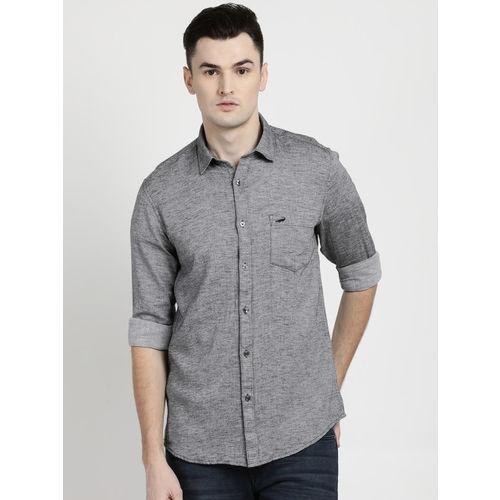 Crocodile Men Grey Slim Fit Self Design Casual Shirt