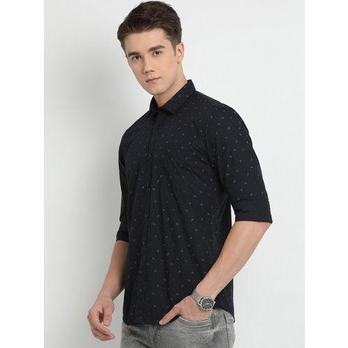 Crocodile Men Black Slim Fit Printed Casual Shirt