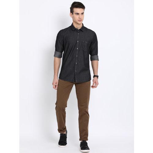 Crocodile Men Black Slim Fit Solid Casual Shirt