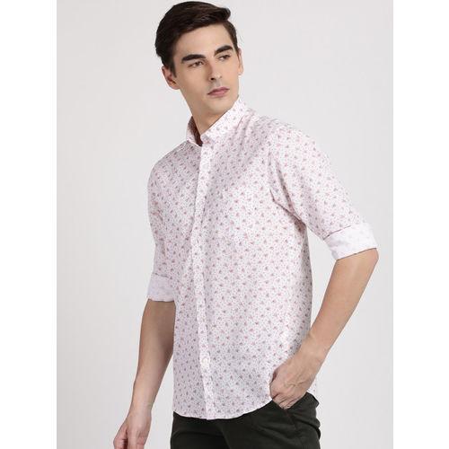 Crocodile Men Red & White Slim Fit Printed Casual Shirt
