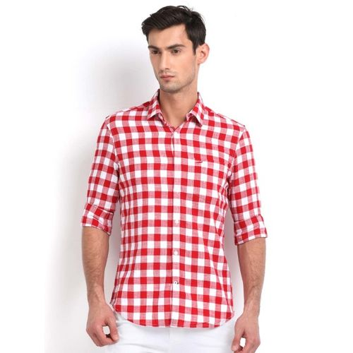 Crocodile Men Red & White Slim Fit Checked Casual Shirt