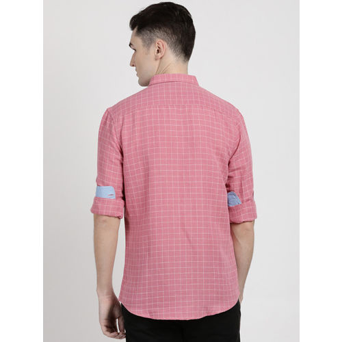Crocodile Men Pink Slim Fit Checked Casual Shirt