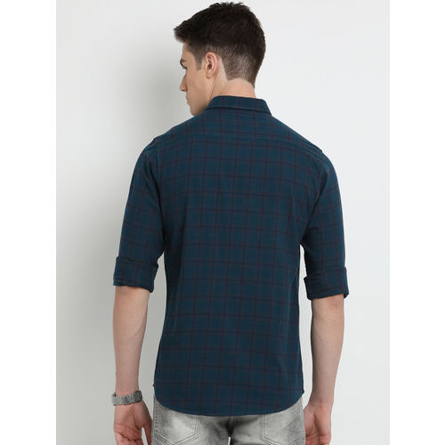 Crocodile Men Teal Blue Slim Fit Checked Casual Shirt