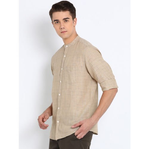 Crocodile Men Beige Slim Fit Checked Casual Shirt