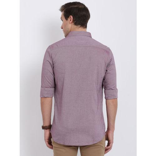 Crocodile Men Mauve Slim Fit Solid Casual Shirt
