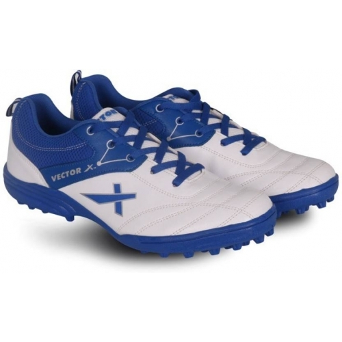 Vector X White & Blue Textured  Cricket Shoes