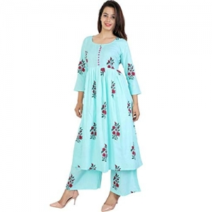 6TH AVENUE STREETWEAR Sky Blue Cotton Printed Kurti And Plazzo
