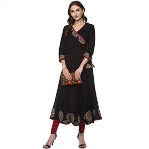 YASH GALLERY Black Cotton Slub Angrakha Style Anarkali Kurta