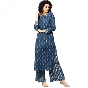 Jaipur Kurti Blue Ethnic Motifs Straight Cotton Kurta With Zigzag Print Palazzo