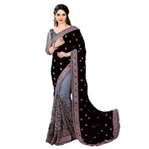 PanashTrends Grey & Black Heavy Embroidery Work Satin Chiffon Net Saree