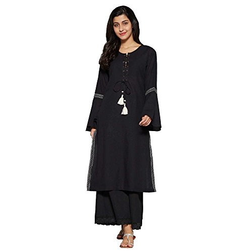 Aahwan Black Cotton Solid Long Straight Kurti