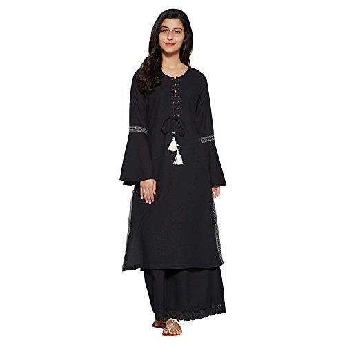 Aahwan Black Cotton Solid Long Straight Kurti