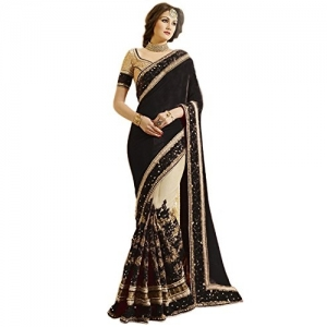 Nivah Fashion Black Satin & Net Half N Half Embroidery work Sari With Blouse