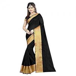 Krishna Emporia Black Polyester Saree With Blouse Piece