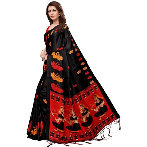 IndoPrimo Black Silk Saree With Blouse Piece