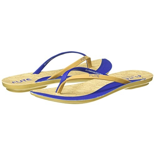 FLITE Blue Beige Synthetic Casual Slip On Flats  Slippers