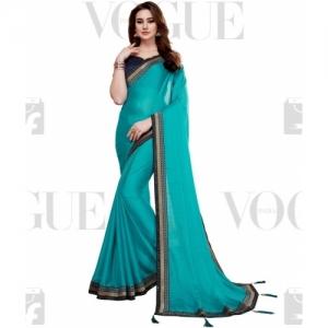 Aashvi Creation Blue Solid  Poly Georgette Embellished Saree