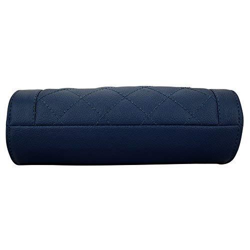 Lapis O Lupo Blue Leather Checked Handbag