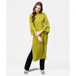 Libas Green Cotton Solid Straight Kurta
