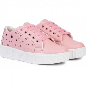 Longwalk Girls Pink Synthetic Lace Up Casual Shoes