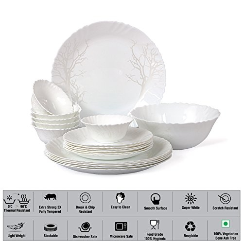 Cello Imperial Winter Frost Opalware Dinner Set, 19 Pieces, White
