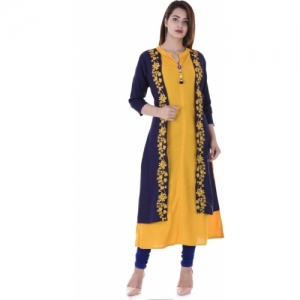 kanchan collections Yellow Rayon Casual Embroidered Women Kurti