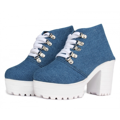 Flaunters Blue Denim Lace Up Casual Shoes