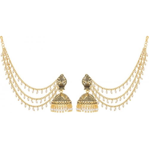 Luxor Bahubali Jhumkha with Long Chain Pearls Pearl Alloy Jhumki Earring