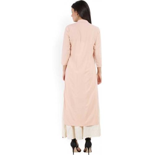 Vishudh Pink Cotton Embroidered Frontslit Kurta