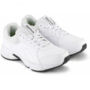 REEBOK White Mesh Lace-Up Boys Sports Casual Shoes