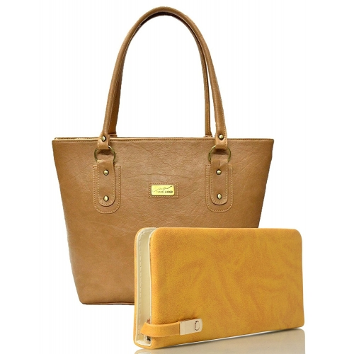 Clementine Beige & Yellow PU Leather Handbag And Clutch Combo