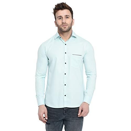 FINIVO FASHION Blue Men Cotton Casual Shirt