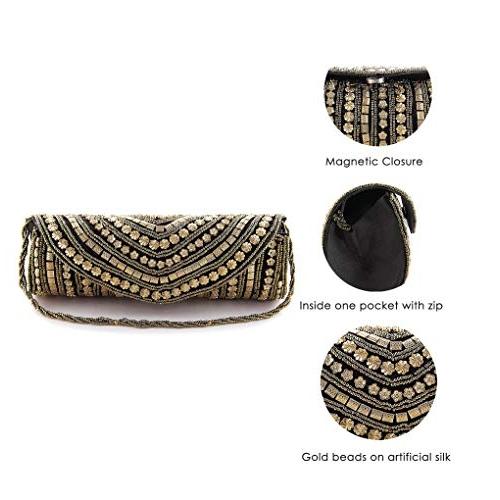 Generic Funkia Black Ethnic, Designer, Handcrafted Silk Party Clutch