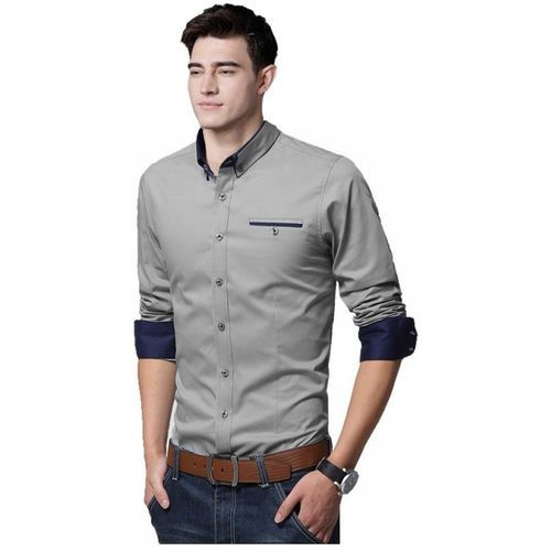 IndoPrimo Grey Cotton Solid Partywear Shirt