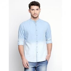 Dennis Lingo Blue Solid Casual Shirt