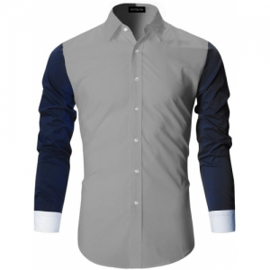 DEELMO Grey Cotton Self Design Casual Shirt