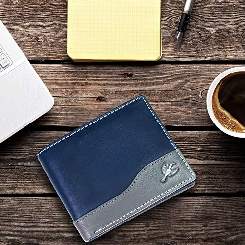 Hornbull Buttler Blue Genuine Leather RFID Blocking Wallet