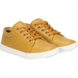 Kraasa Gold Synthetic Leather Boys Lace Sneakers Shoes