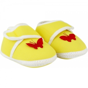 Neska Moda Butterfly Yellow  6 To 18 Month Baby Booties