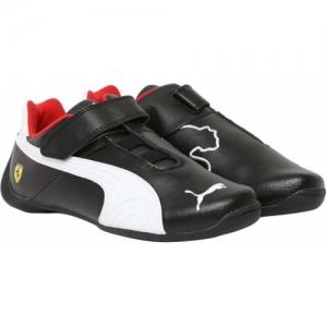 Puma Black Leather Boys & Girls Velcro Sneakers