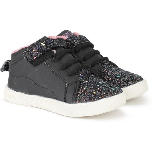 Miss & Chief Black Canvas Boys & Girls Velcro Sneakers Shoes