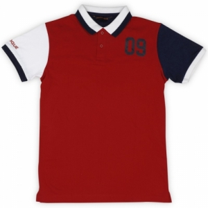 Provogue Red Boys Solid Cotton Blend Polo T Shirt