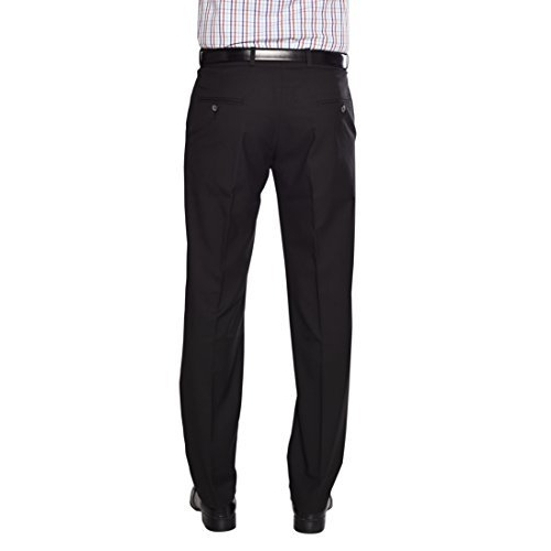 FLAGS Black Solid Polyester Formal Trouser