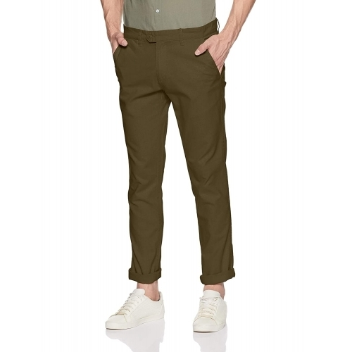 Ruggers by Unlimited Olive Cotton Solid Casual Trousers