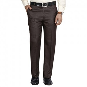 McHenry Brown Polyester Solid Mid Rise Formal Trousers