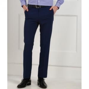 Arrow Blue Viscose Regular Fit Men Trousers