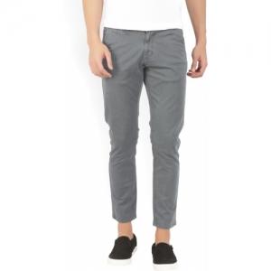 Spykar  Grey Cotton Regular Fit Trousers