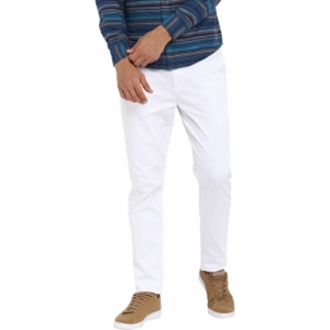 Red Tape White Cotton Slim Fit Trousers